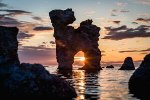 Limestone formed as a dog in Fårö with the sunset between his legs