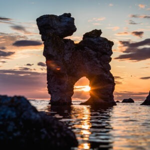 Inspirational timelines and limestone formed as a dog in Fårö with the sunset between his legs