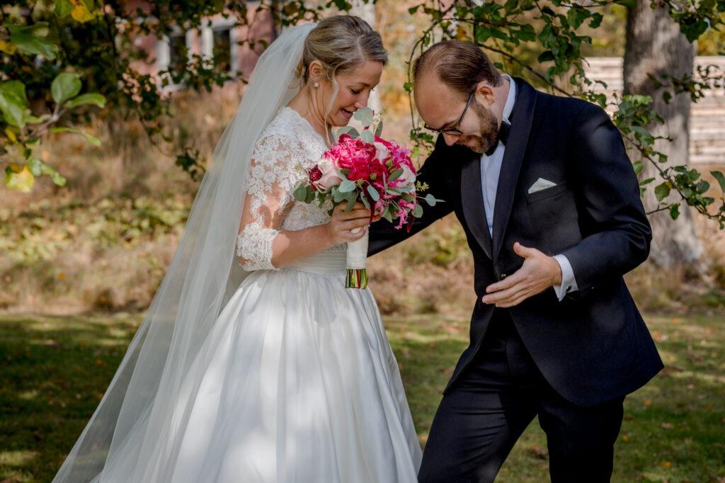 Groom very surprised and emotional of his bride