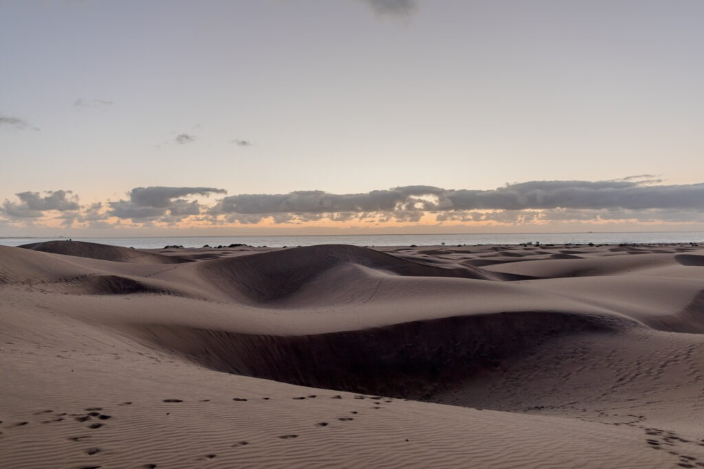 A scenery of sand dune in Maspalomas in sunrise