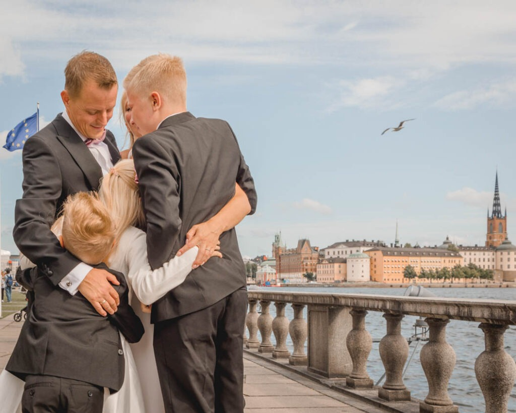 Family hugging during a portrait session