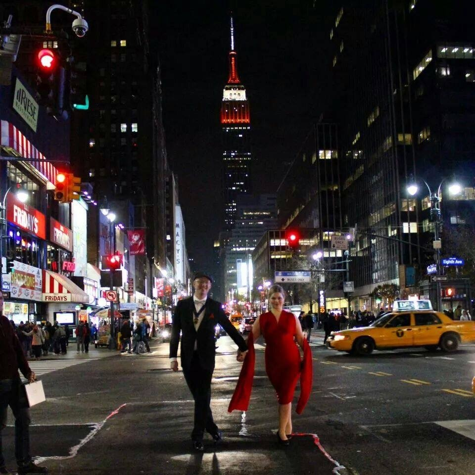 NYC elopement red dress and red empire state building