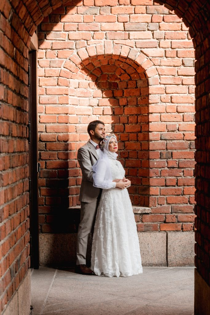 Stockholm city hall and the couple in stunning lights