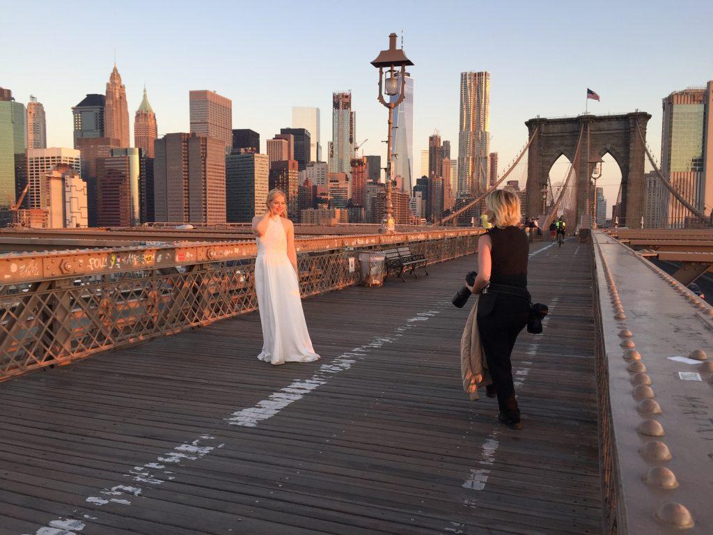 things to do in NYC walk over Brooklyn Bridge in sunrise