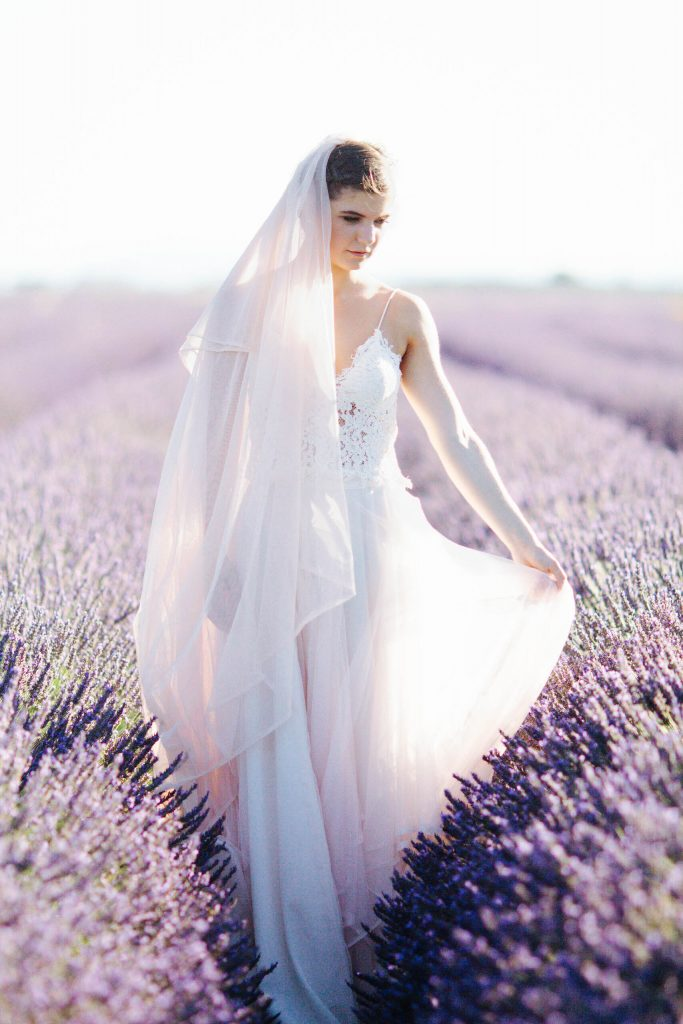 ways to add value on your elopement day bride in lavender fields in Provence