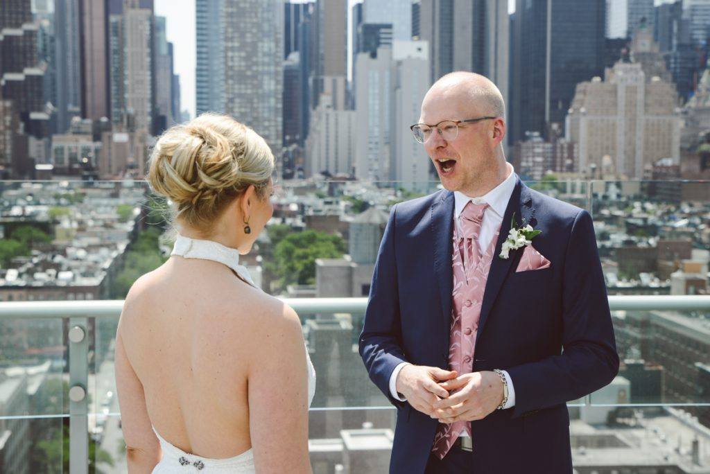 Intimate weddings gorgeous bridal hairdo's in NYC rooftop INK 48, the press lounge