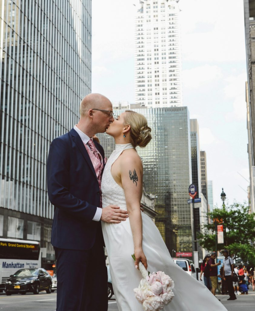 NYC elopement, couple by the press lounge
