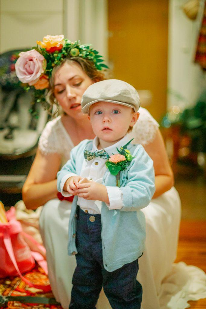 adventure elopement of 18 months Axel in elopement wedding attires