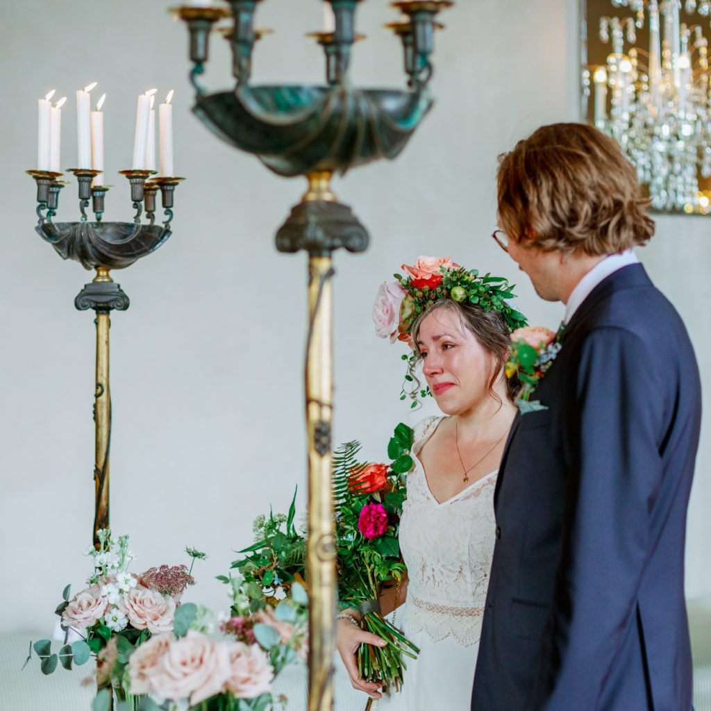adventure elopement bride saying yes in tears at Stockholm cityhall
