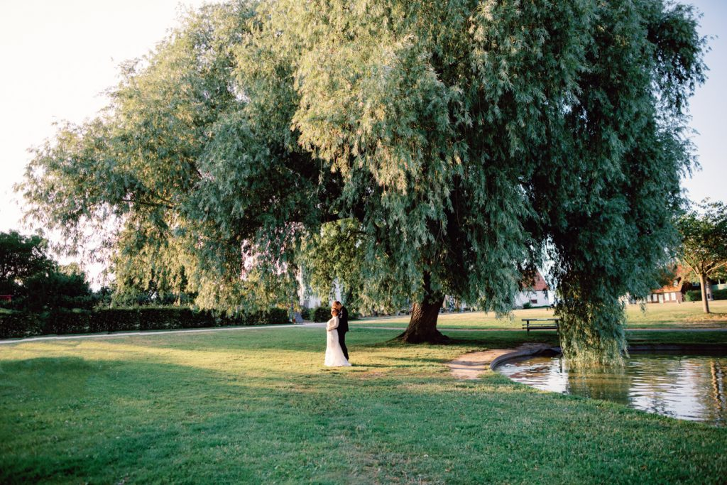 inspirational editorial Gotland visby ruin brideand groom under a tree in golden lights