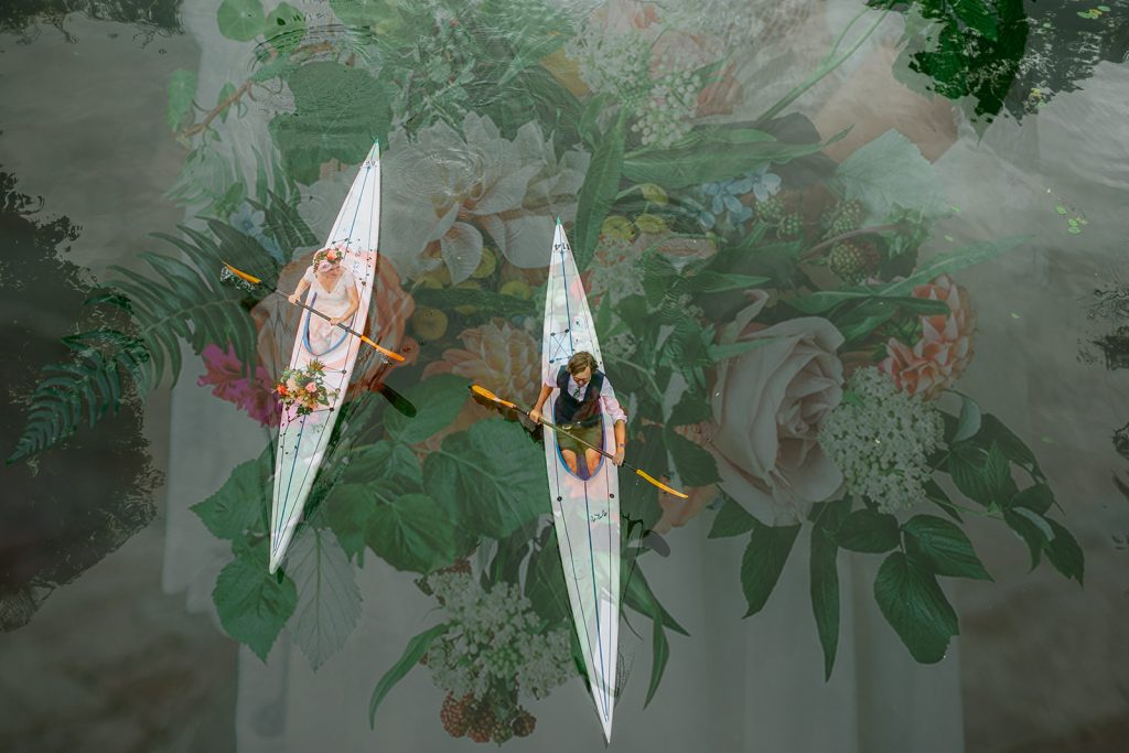 Bride and groom kayaking seen from above and a double exposure of the bridal bouquet