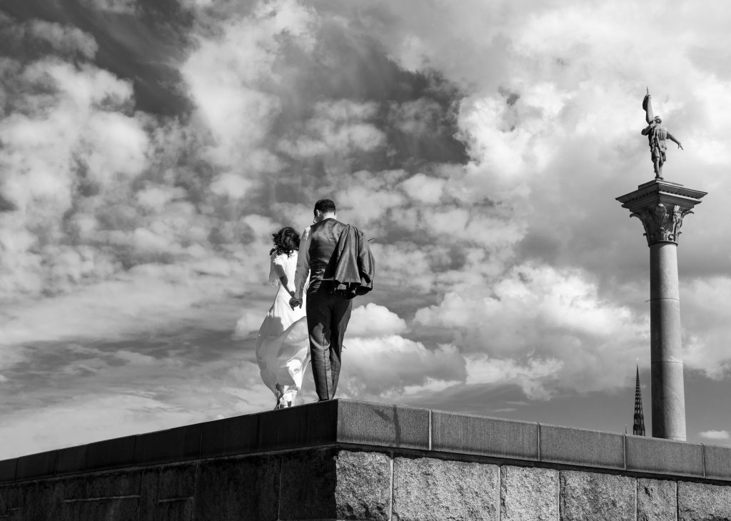 summer elopement blacka nd white among the clouds