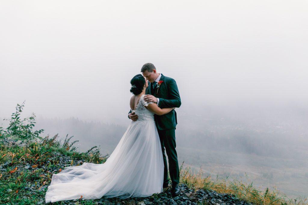 elopement wedding a foggy portrait up a mountain