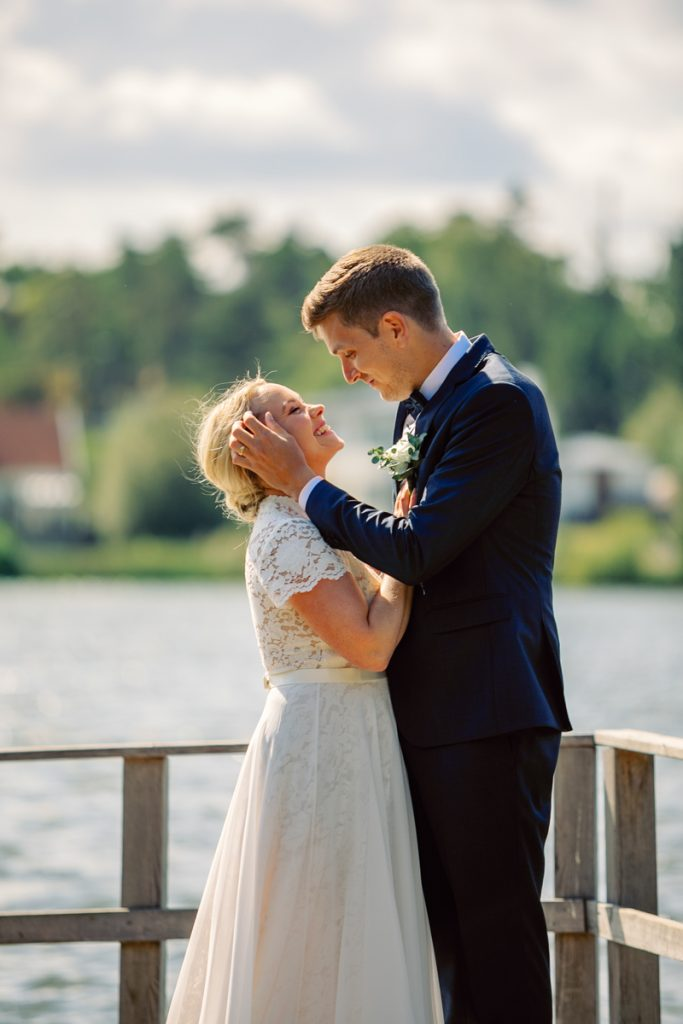 elopement wedding, groom intimate touching his brides face