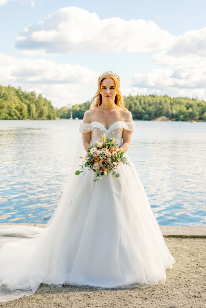 elopement wedding bridal portrait by the sea