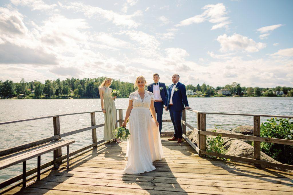 elopement wedding, bridal tribe portrait on the dock