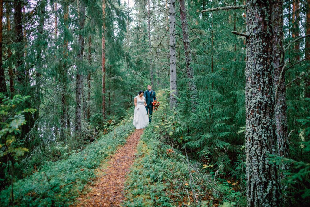 elopement wedding portrait in the forrest