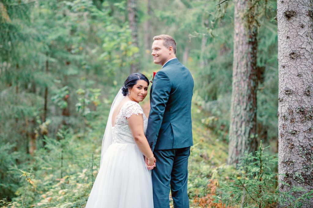 elopement wedding close up in the forrest
