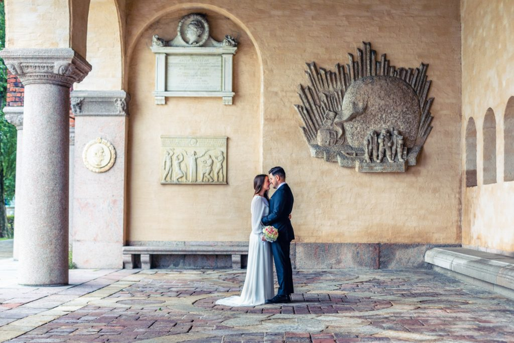 elopement wedding couple standing at cityhall talking