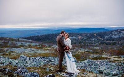 One stunning, breathtaking mountain waterfall elopement in Vemdalen, Sweden.